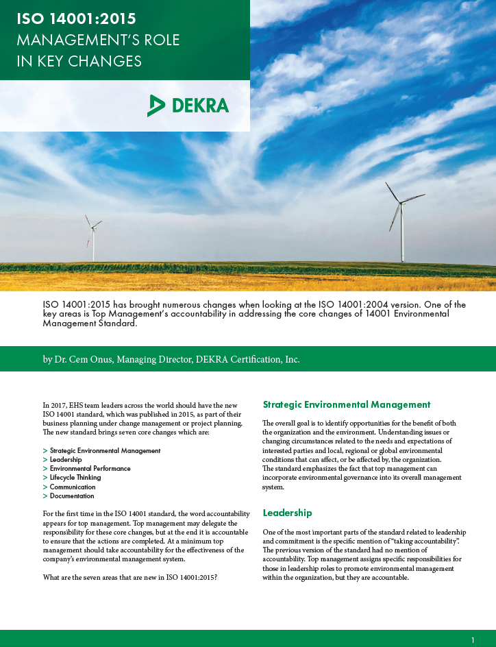 ISO 14001:2015 - Management's Role in Key Changes